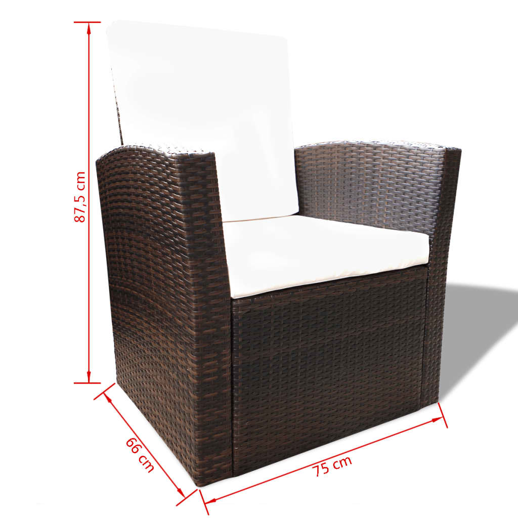 vidaxl brown outdoor poly rattan lounge set with cushions. Black Bedroom Furniture Sets. Home Design Ideas
