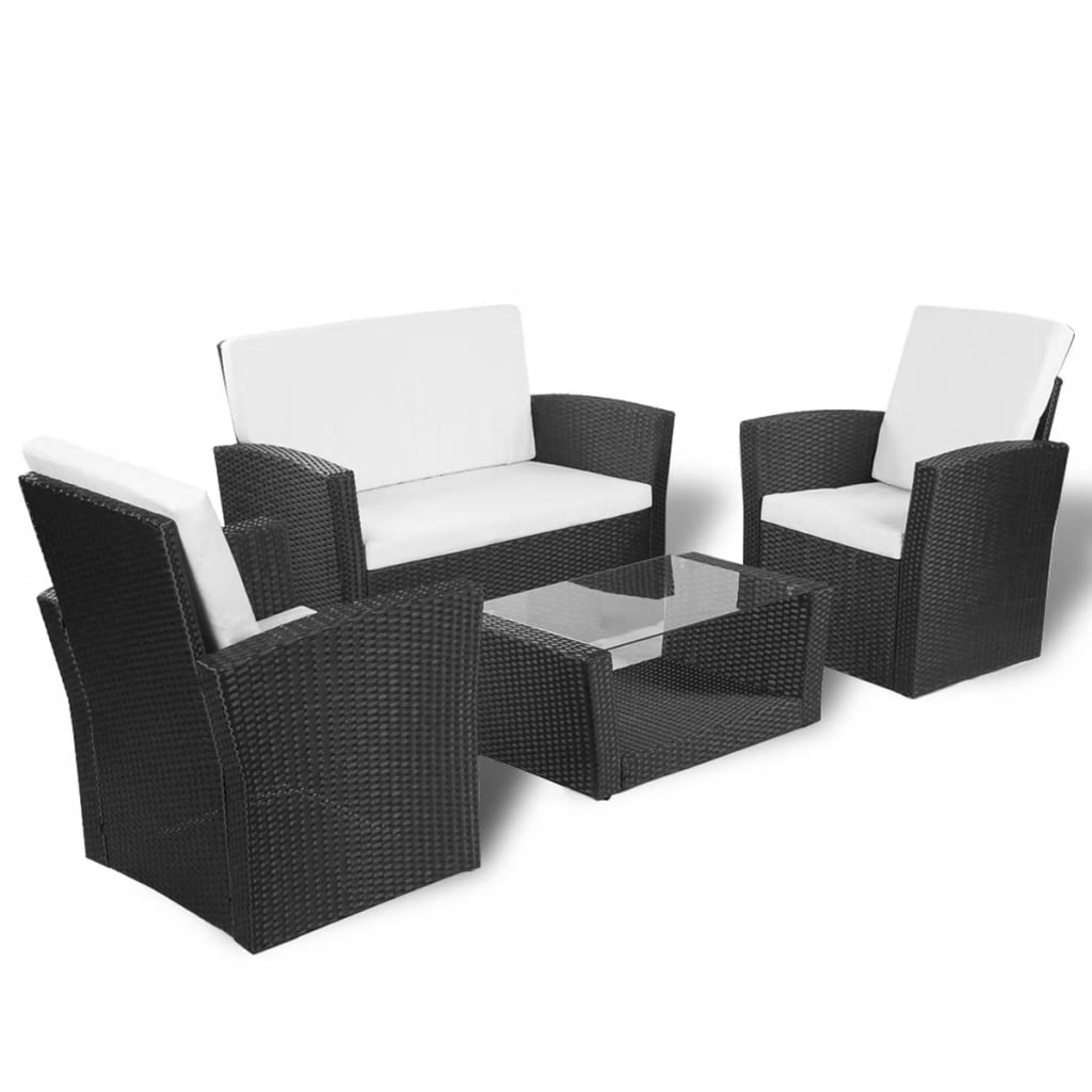Vidaxl black outdoor poly rattan lounge set with cushions for Patio lounge sets