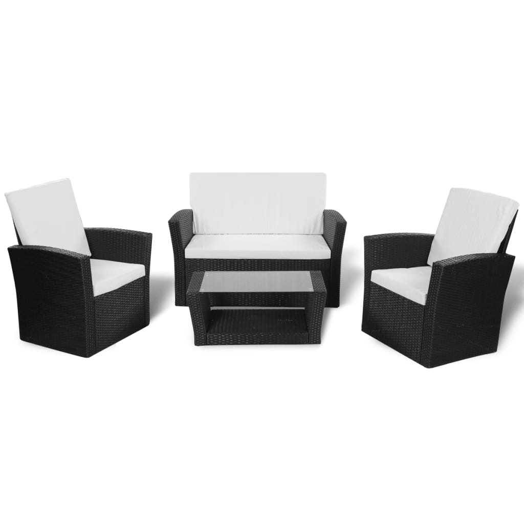 vidaxl black outdoor poly rattan lounge set with cushions. Black Bedroom Furniture Sets. Home Design Ideas