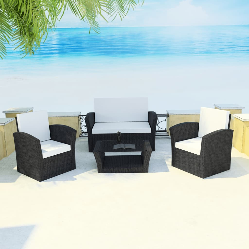 poly rattan gartenm bel lounge set mit sitzkissen de. Black Bedroom Furniture Sets. Home Design Ideas