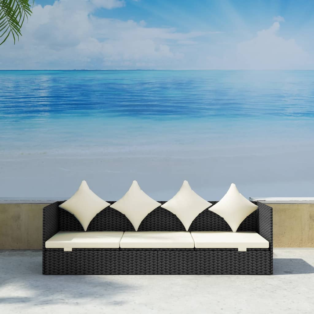 der rattan sonnenliege gartenliege mit sitzpolster kissen schwarz online shop. Black Bedroom Furniture Sets. Home Design Ideas