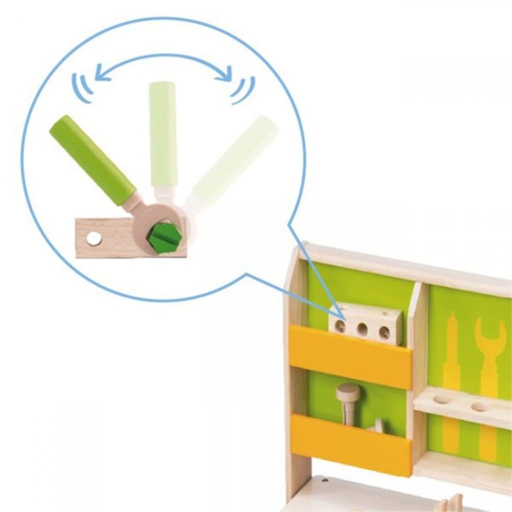 wonderworld banc de travail avec outils en jouet bois vert hout192438. Black Bedroom Furniture Sets. Home Design Ideas