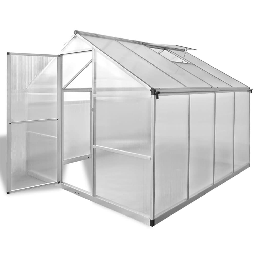 vidaXL Megerősített alumínium üvegház beépített alap 6,05 m2