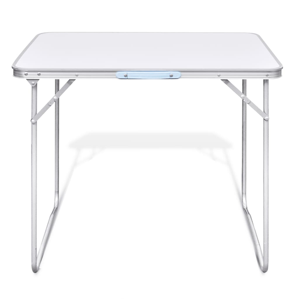 foldable camping table with metal frame 80 x 60 cm. Black Bedroom Furniture Sets. Home Design Ideas