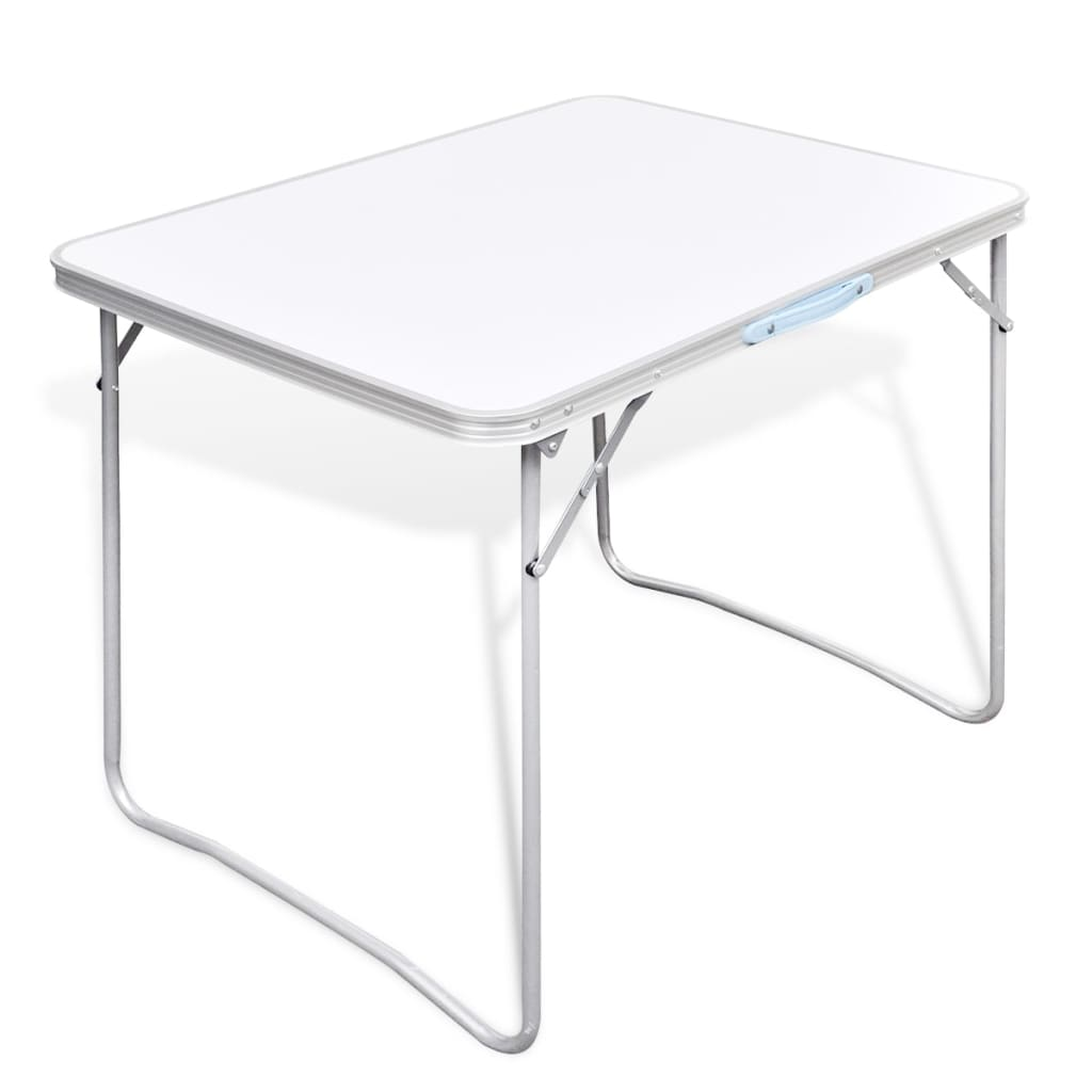 portable folding camping picnic table 80x60cm party garden bbq metal frame ebay. Black Bedroom Furniture Sets. Home Design Ideas