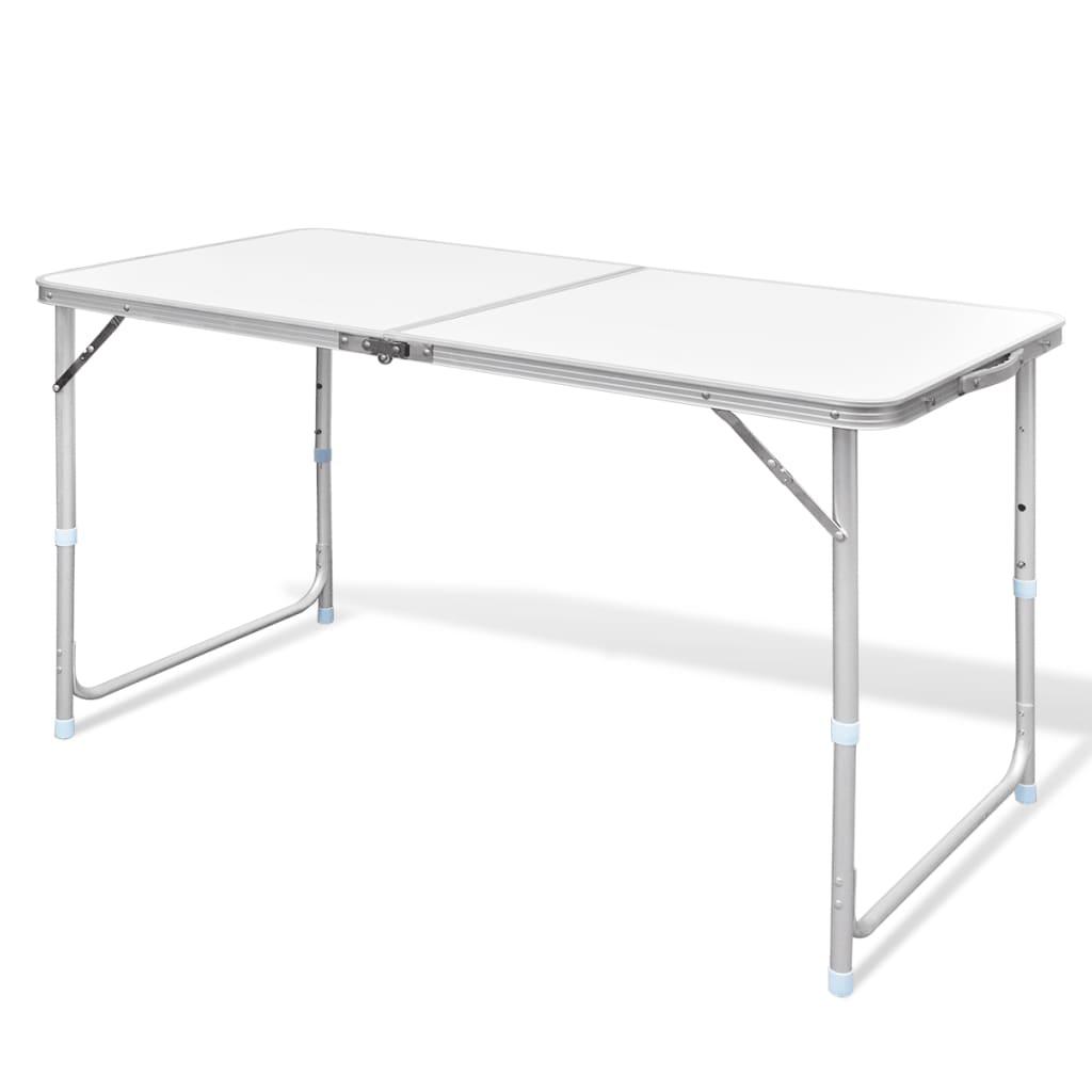 vidaXL Sammenfoldeligt højdejusterbart camping bord i aluminium, 120 x 60 cm