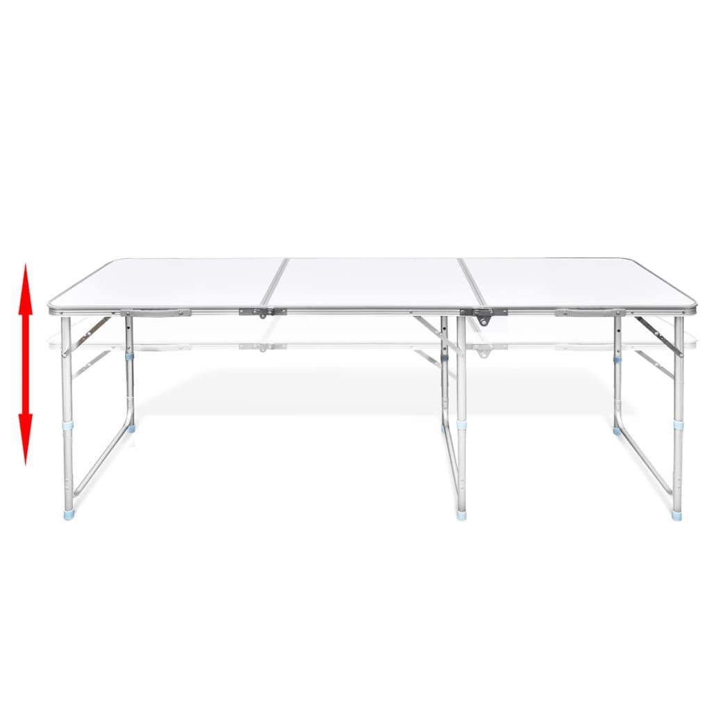 Tavolo da campeggio pieghevole alluminio altezza regolabile 180 x 60cm - Tavolo regolabile in altezza ...