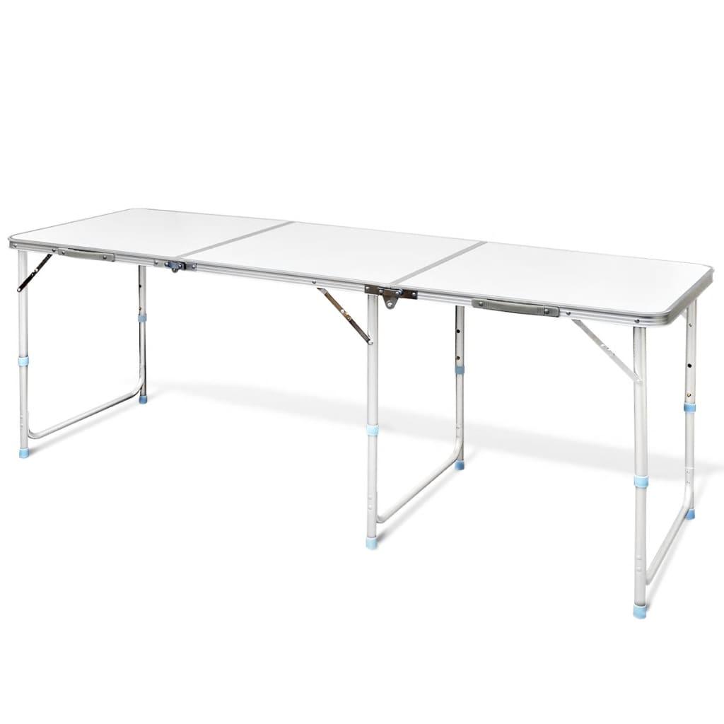 Hopfällbart campingbord med justerbar höjd Aluminium 180 x 60 cm