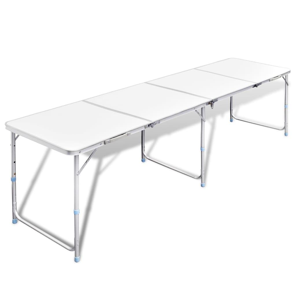 Hopfällbart campingbord med justerbar höjd Aluminium 240 x 60 cm