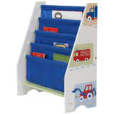 Worlds Apart Kid's Bookcase Trucks and Tractors White WORL230007