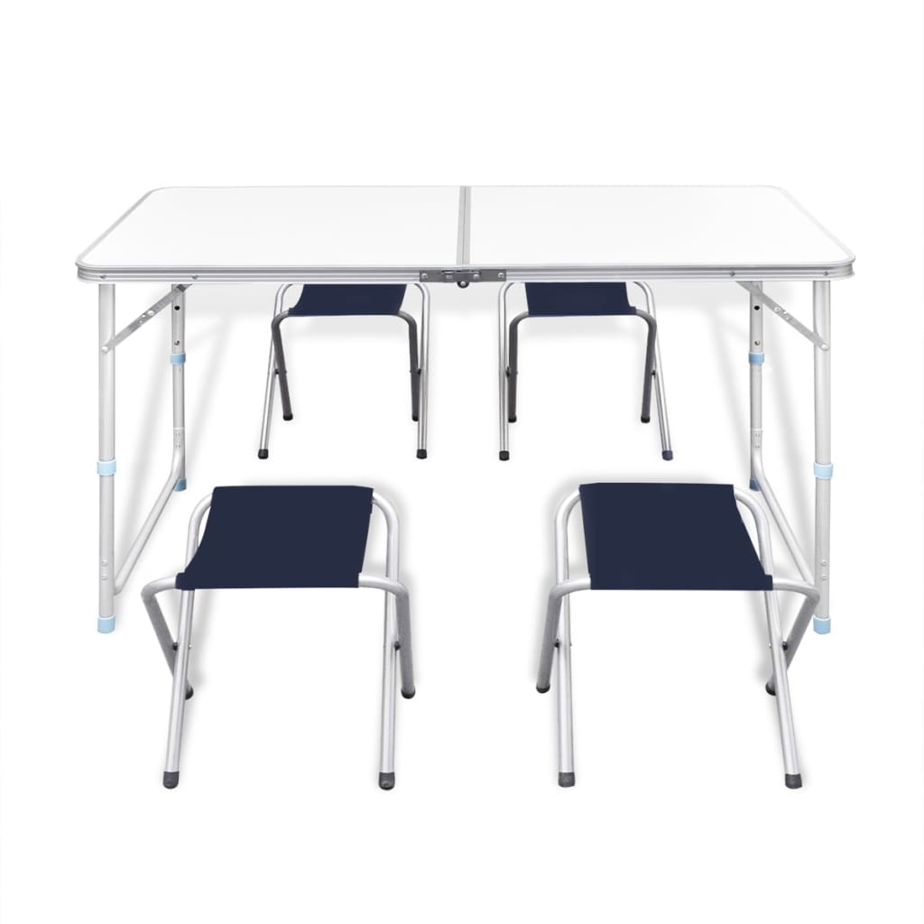 Foldable camping table set with 4 stools - Camping table adjustable height ...