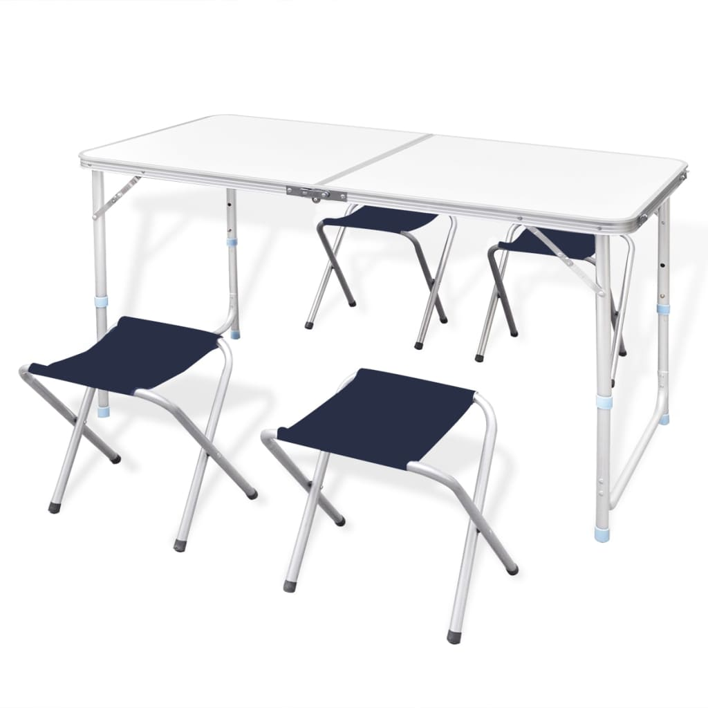 Table pliante de camping hauteur ajustable avec tabourets for Table de jardin pliante