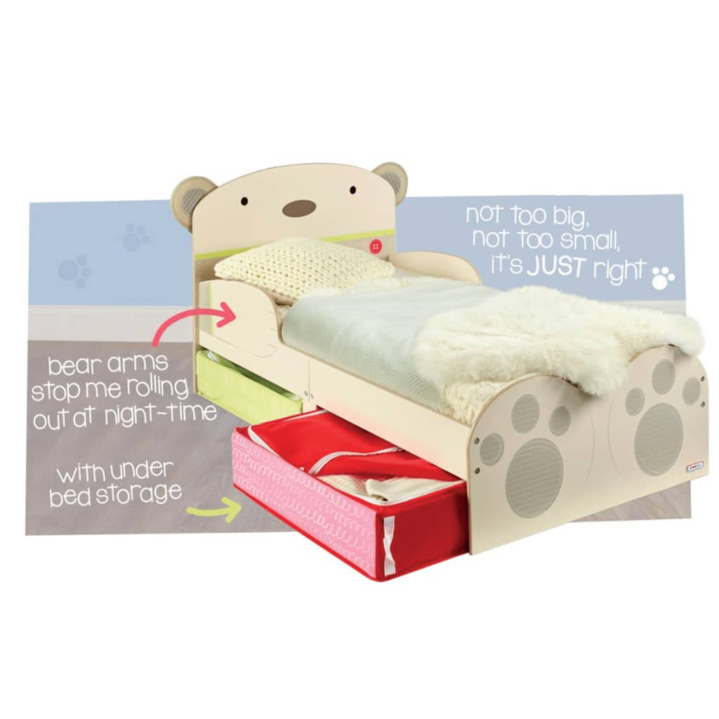 Worlds Apart Toddler Bed With Drawers Bear Hug Beige