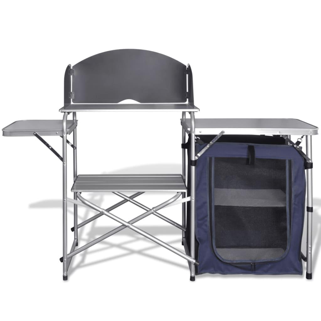la boutique en ligne cuisine de camping pliante en aluminium avec pare brise. Black Bedroom Furniture Sets. Home Design Ideas