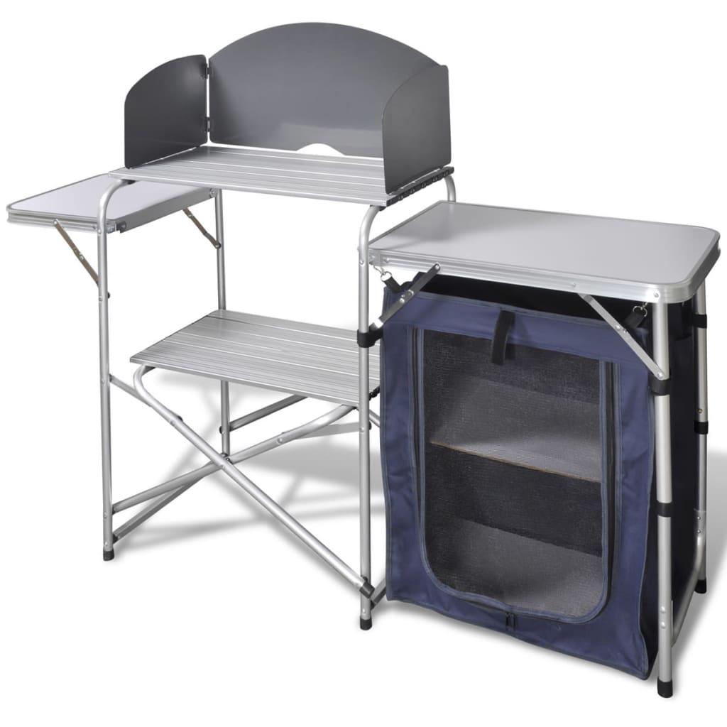 vidaXL Foldbar camping køkken enhed med forruden aluminium