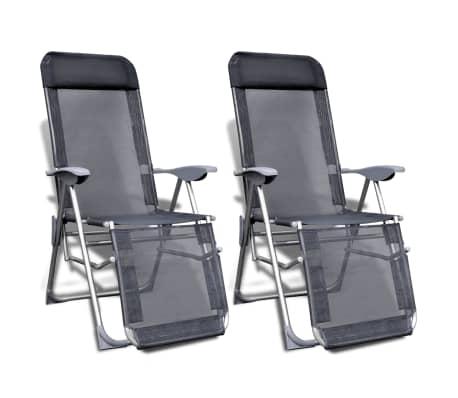 2 Zložljiva Prilagodljiva Kamping Stola z Naslonjalom za Noge Aluminij