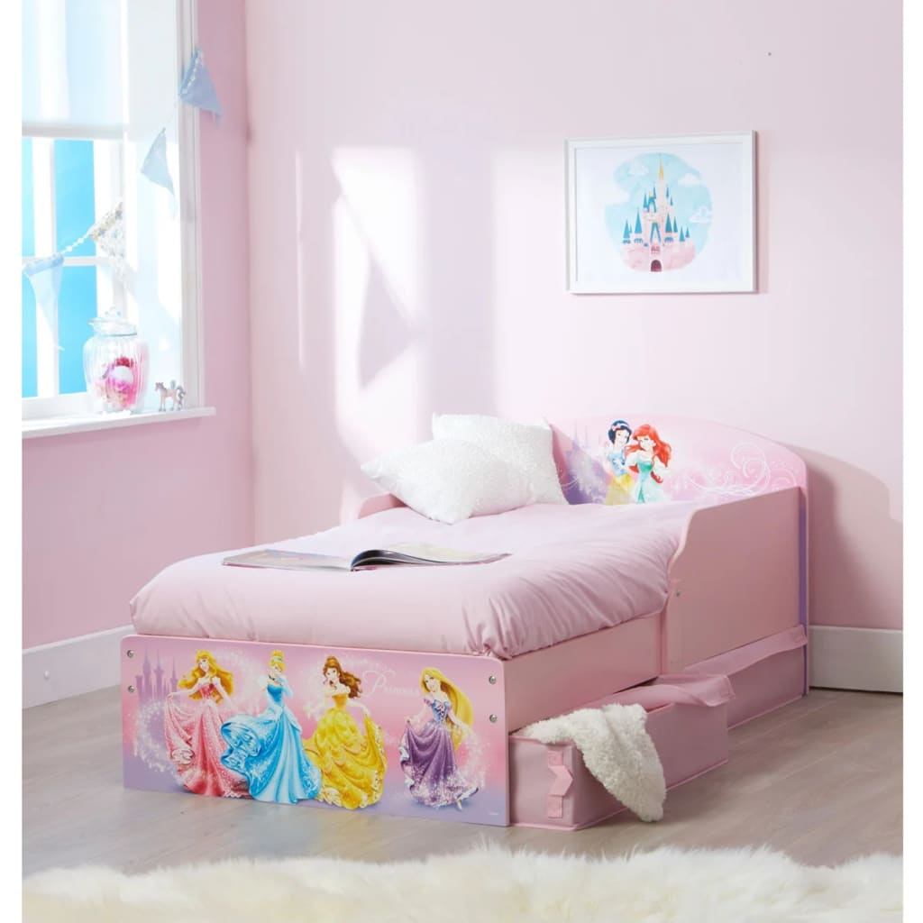 acheter disney lit d 39 enfant avec tiroirs princess 142x59x77 cm rose worl660018 pas cher. Black Bedroom Furniture Sets. Home Design Ideas