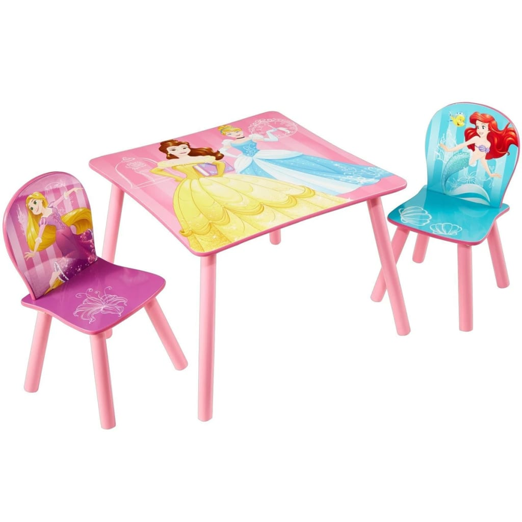 Afbeelding van Disney Tafel en stoelen set 3-delig Prinsessen 45x63x63 cm WORL660020