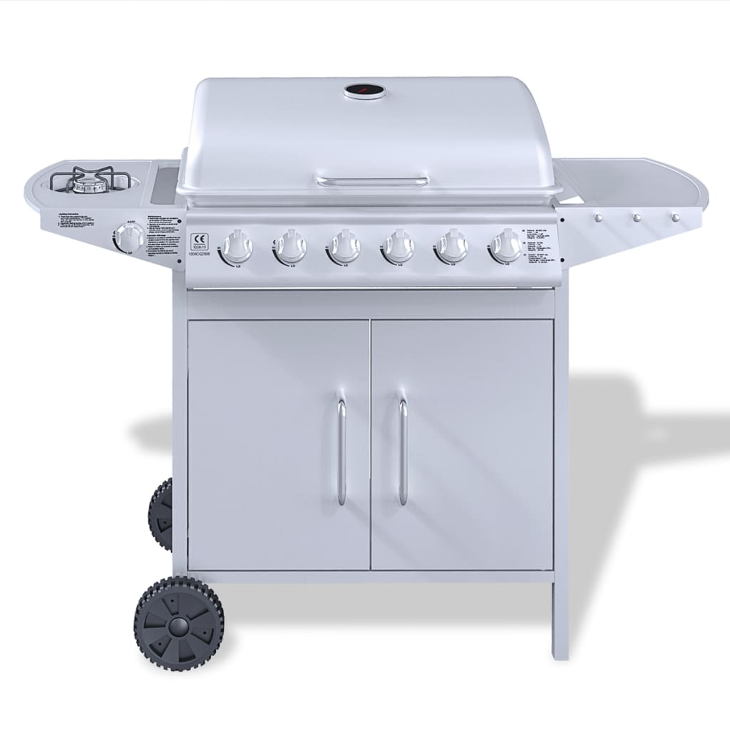 New stainless steel gas barbecue bbq grill 6 1 side burner silver outdoor ebay - Grill for bbq stainless steel ...