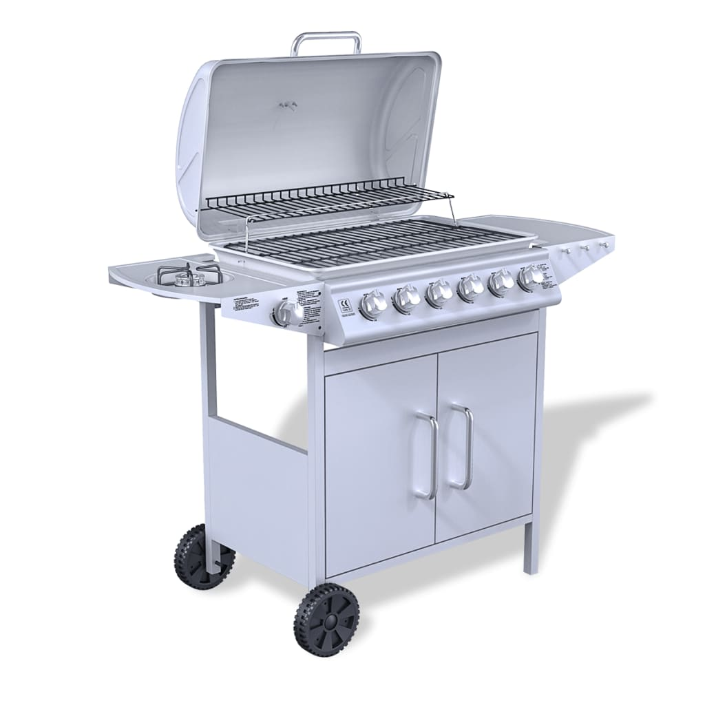 stainless steel gas barbecue bbq grill 6 1 burners silver. Black Bedroom Furniture Sets. Home Design Ideas
