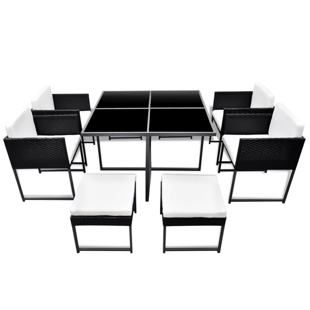 gartenset rattan 8 personen schwarz g nstig kaufen. Black Bedroom Furniture Sets. Home Design Ideas