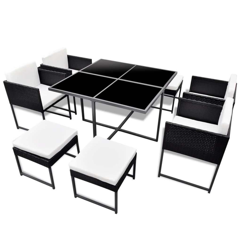 la boutique en ligne salon de jardin noir en polyrotin 8 personnes. Black Bedroom Furniture Sets. Home Design Ideas