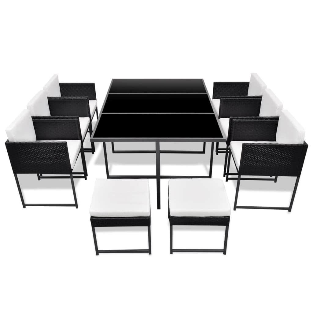 acheter vidaxl meuble de jardin 10 personnes r sine tress e noir pas cher. Black Bedroom Furniture Sets. Home Design Ideas