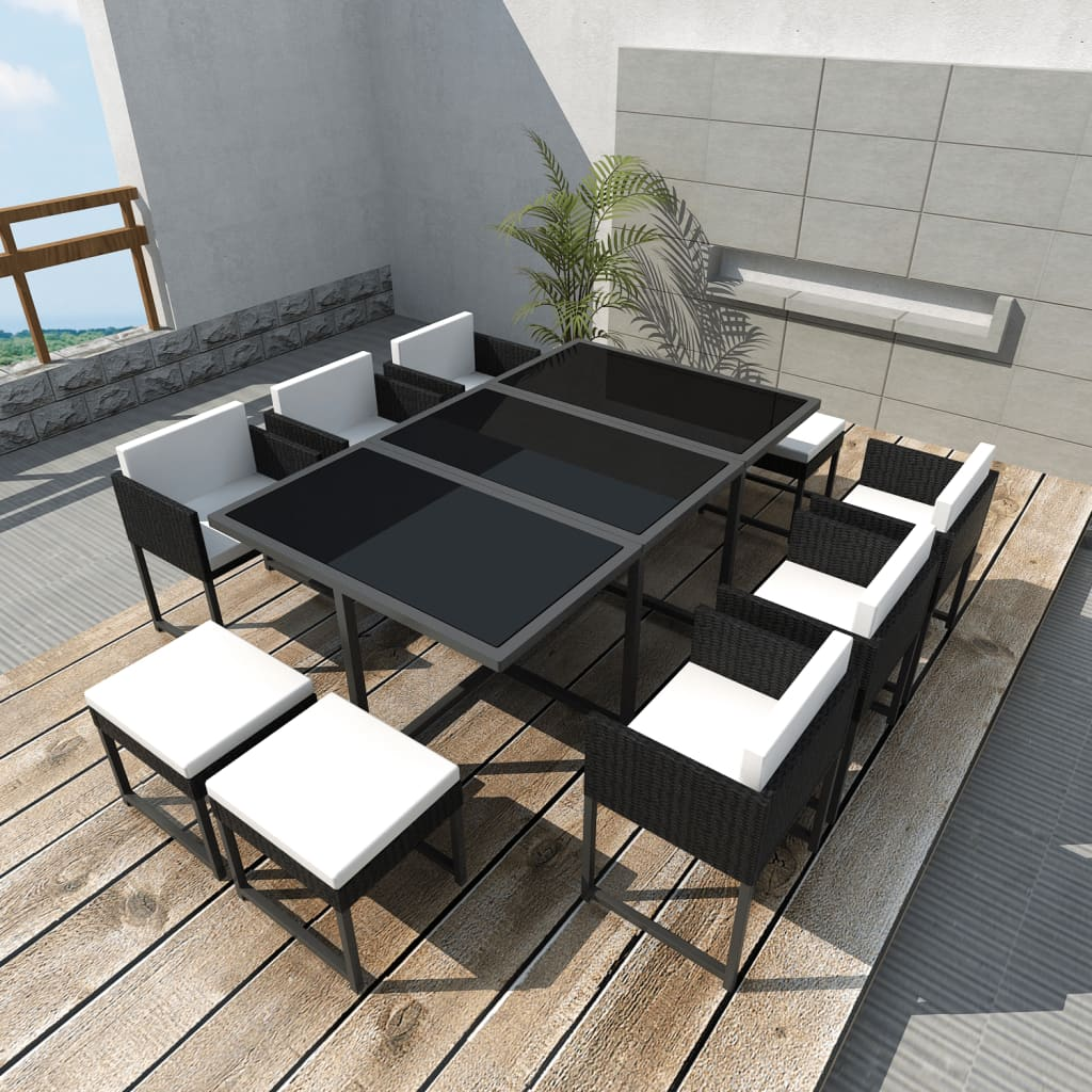 vidaxl black poly rattan outdoor 10 person dining set. Black Bedroom Furniture Sets. Home Design Ideas