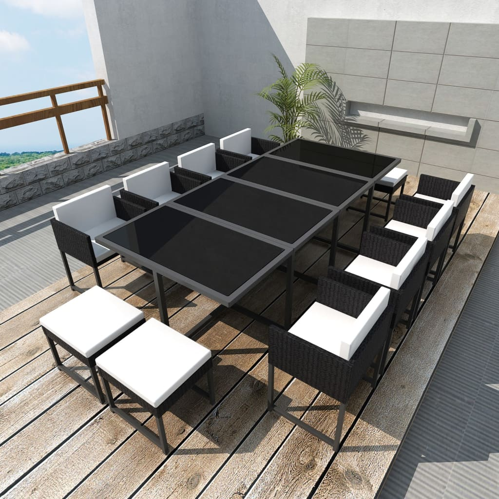 acheter vidaxl meuble de jardin 12 personnes r sine tress e noir pas cher. Black Bedroom Furniture Sets. Home Design Ideas