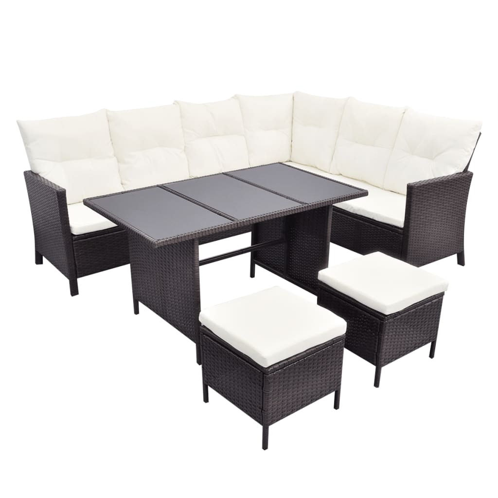 vidaxl poly rattan 8 person lounge set brown. Black Bedroom Furniture Sets. Home Design Ideas