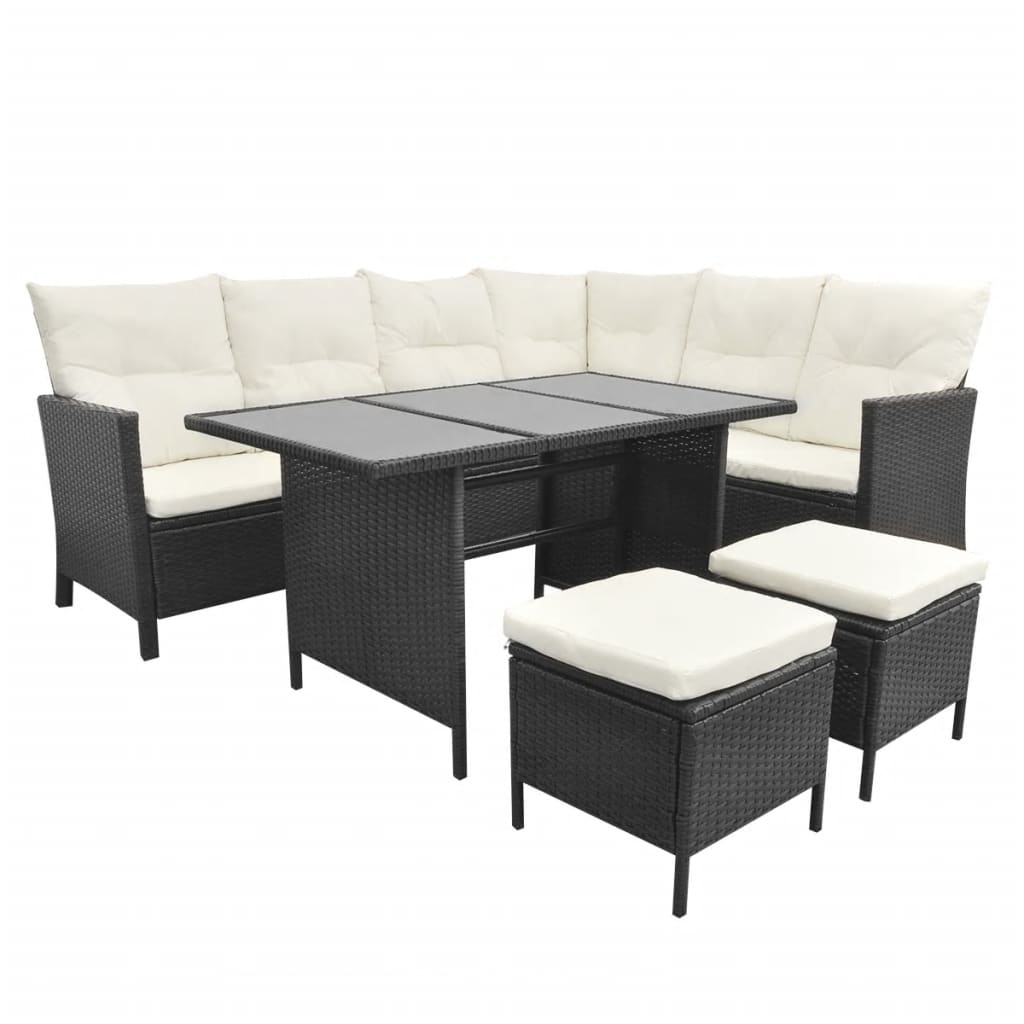 la boutique en ligne salon de jardin en polyrotin noir 8 personnes. Black Bedroom Furniture Sets. Home Design Ideas