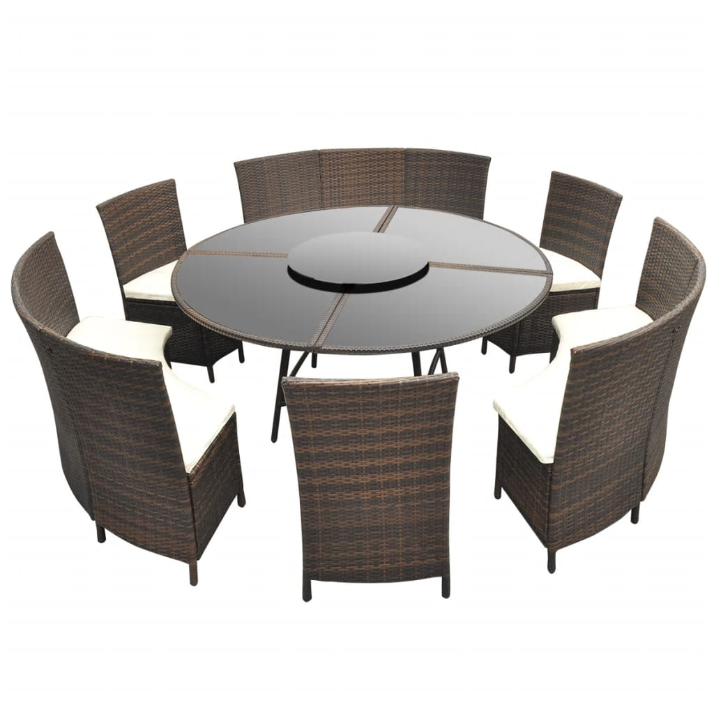 la boutique en ligne salon de jardin marron en polyrotin table ronde et chaises 12 pers. Black Bedroom Furniture Sets. Home Design Ideas