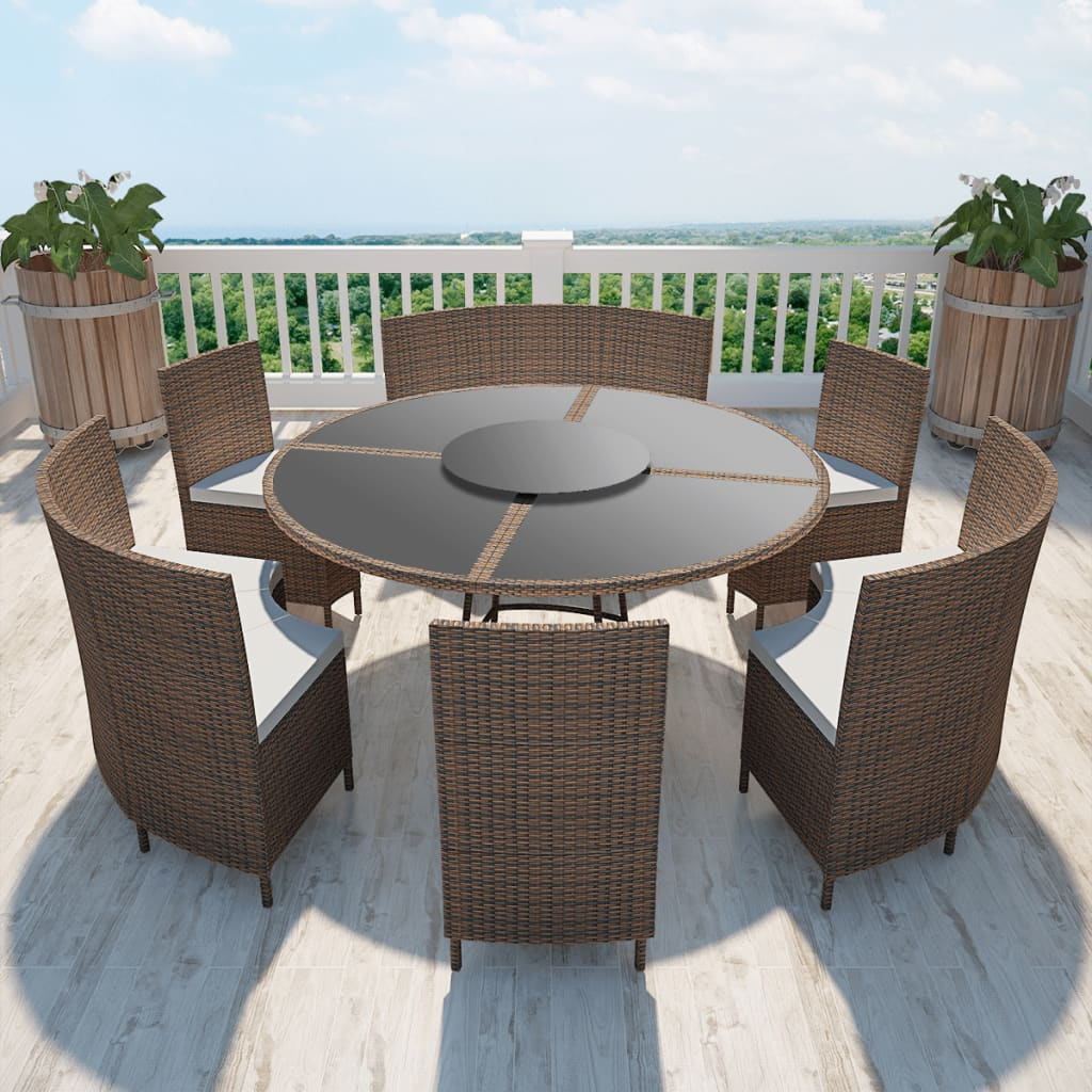 La boutique en ligne salon de jardin marron en polyrotin for Set de table rotin