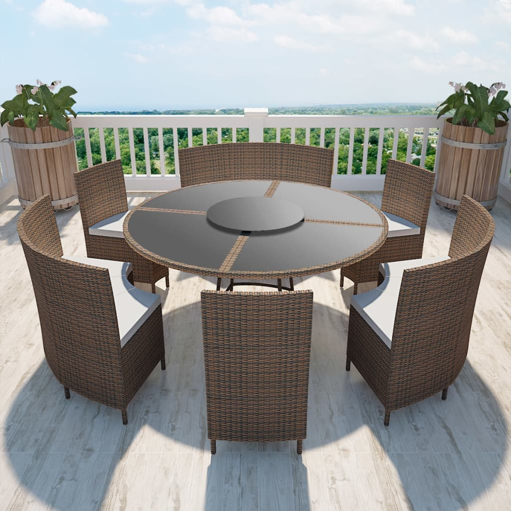poly rattan sitzgruppe essgruppe gartenset gartenm bel tisch rund 12 personen ebay. Black Bedroom Furniture Sets. Home Design Ideas