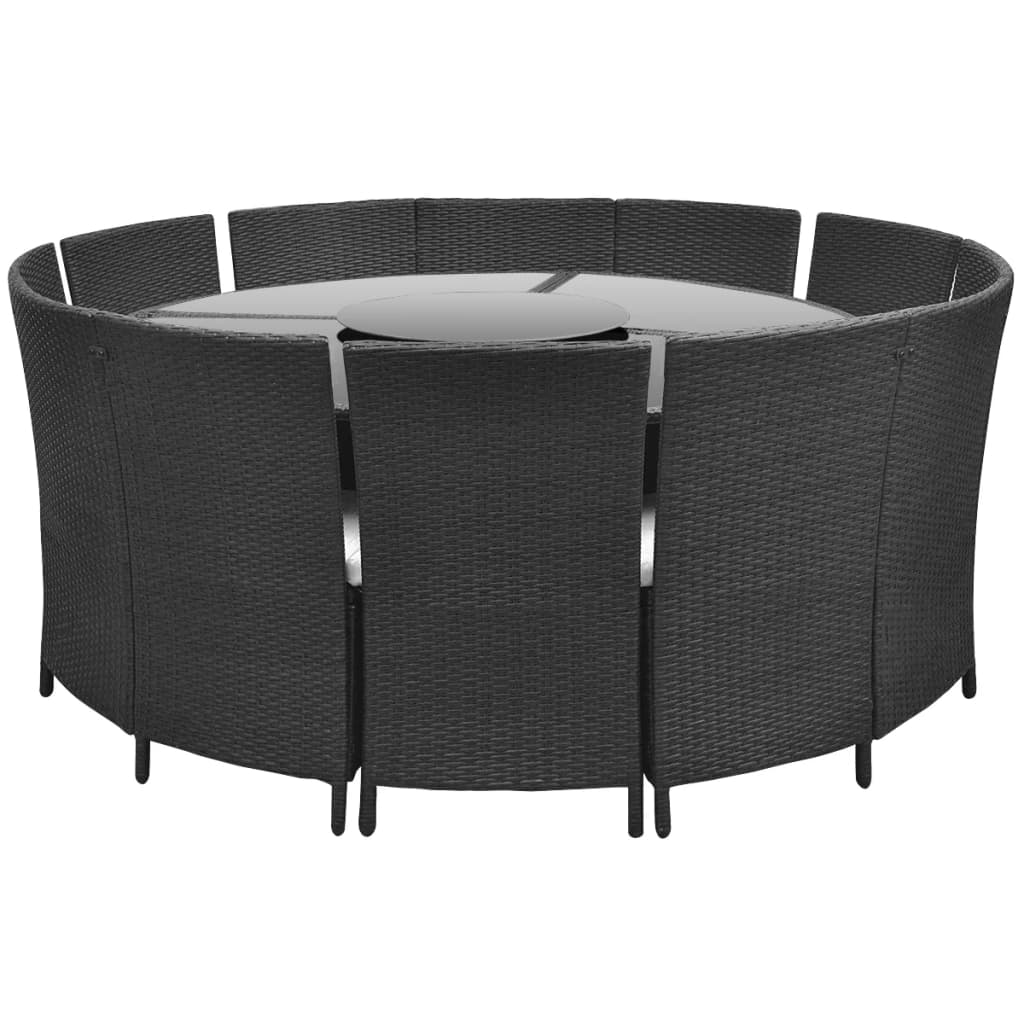 der polyrattan 12 personen runder tisch und st hle set schwarz online shop. Black Bedroom Furniture Sets. Home Design Ideas