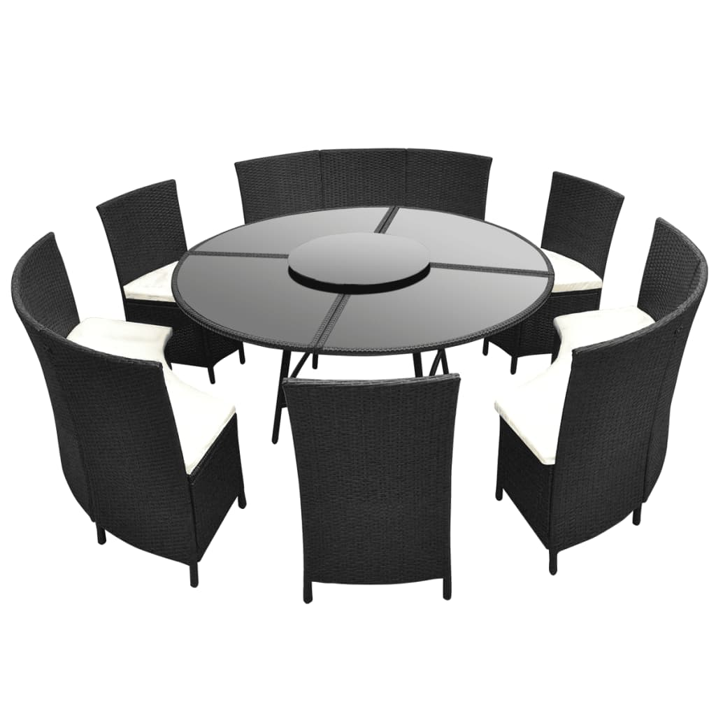 la boutique en ligne salon de jardin noir en polyrotin table ronde et chaises 12 pers. Black Bedroom Furniture Sets. Home Design Ideas