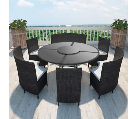 der polyrattan 12 personen runder tisch und st hle set. Black Bedroom Furniture Sets. Home Design Ideas