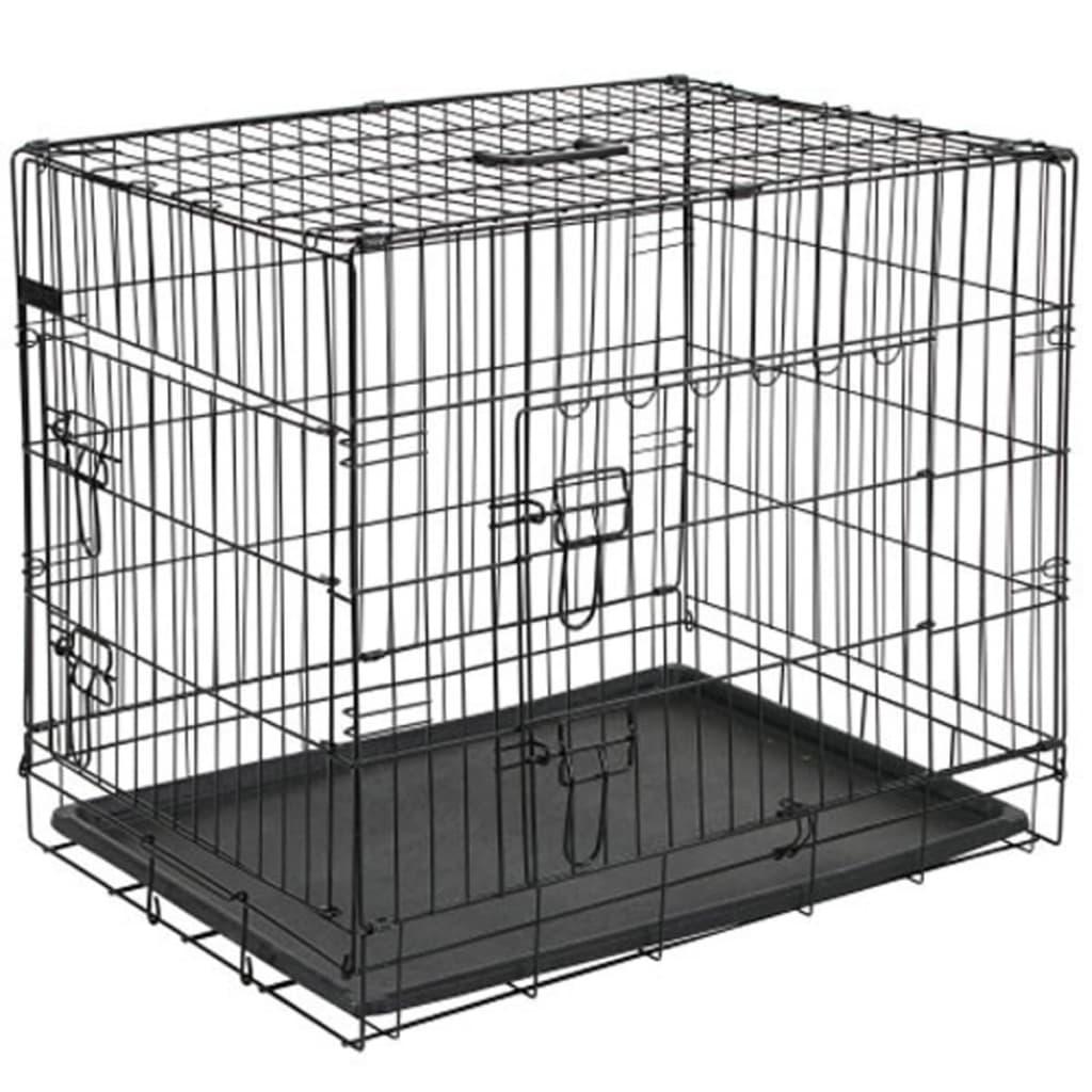 acheter pet cage pour chien 92 5x57 5x64 cm m tal noir. Black Bedroom Furniture Sets. Home Design Ideas