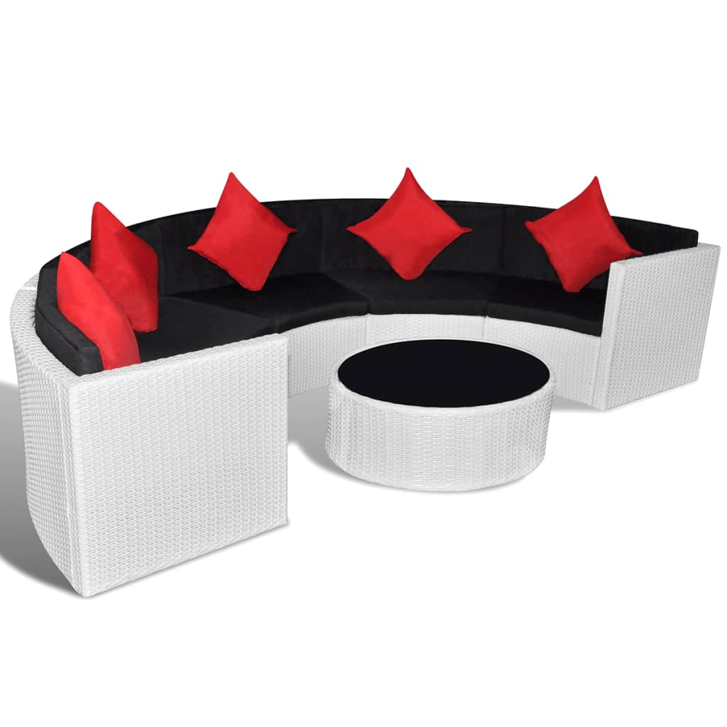 Poly rattan loungeset half rond (wit)