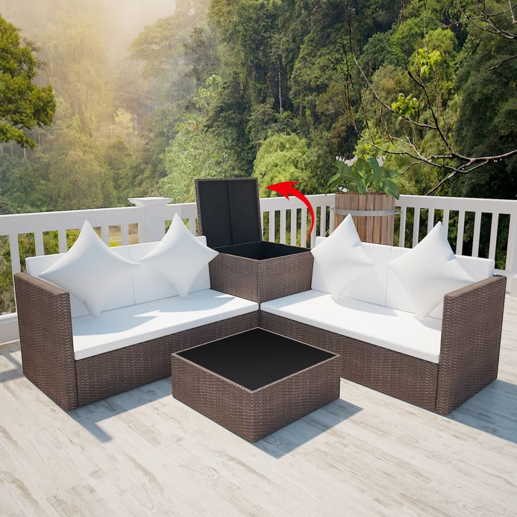 la boutique en ligne salon de jardin en polyrotin marron avec coffre de rangement. Black Bedroom Furniture Sets. Home Design Ideas