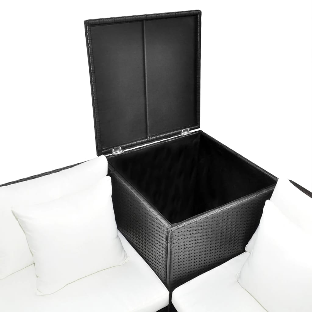 black poly rattan lounge set with storage chest. Black Bedroom Furniture Sets. Home Design Ideas