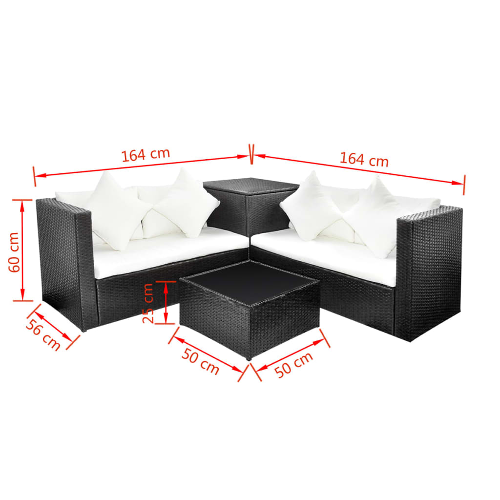 la boutique en ligne salon de jardin en polyrotin noir avec coffre de rangement. Black Bedroom Furniture Sets. Home Design Ideas
