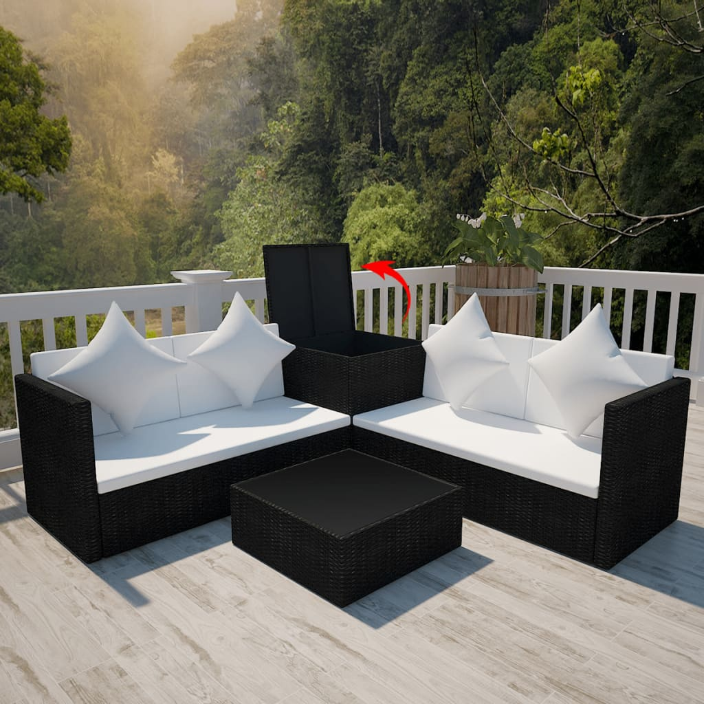 der poly rattan gartenm bel set mit auflagenbox schwarz. Black Bedroom Furniture Sets. Home Design Ideas
