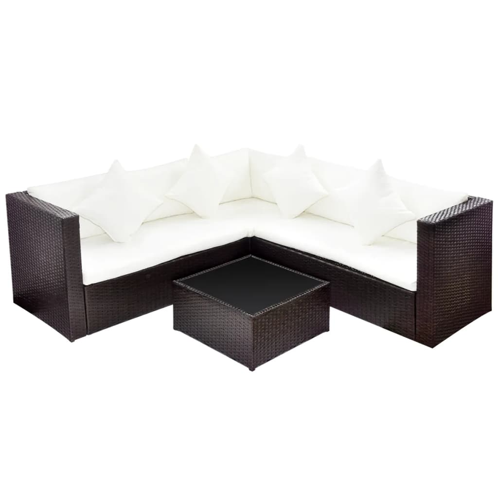 brown poly rattan lounge set with two seat sofa