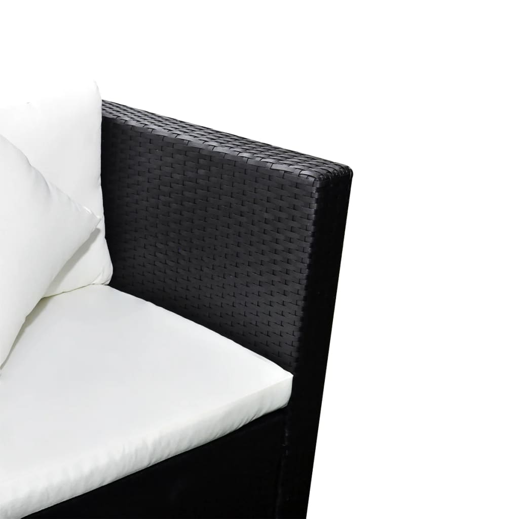 black poly rattan lounge set with two seat sofa. Black Bedroom Furniture Sets. Home Design Ideas