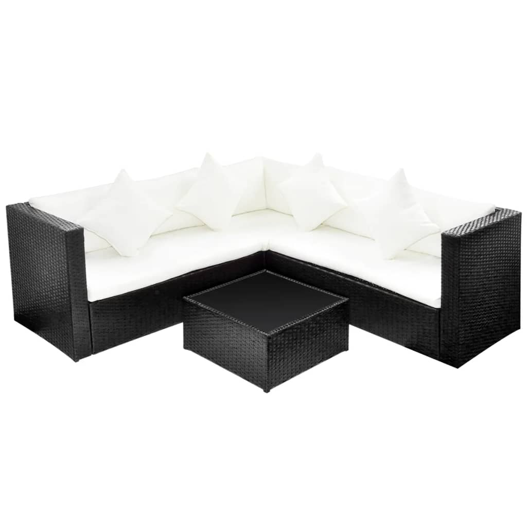 Black Poly Rattan Lounge Set with Two-seat Sofa  vidaXL.com