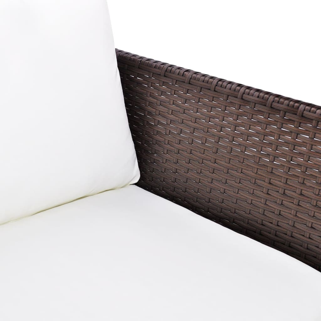 poly rattan gartenm bel lounge set 3 sitzer braun g nstig. Black Bedroom Furniture Sets. Home Design Ideas