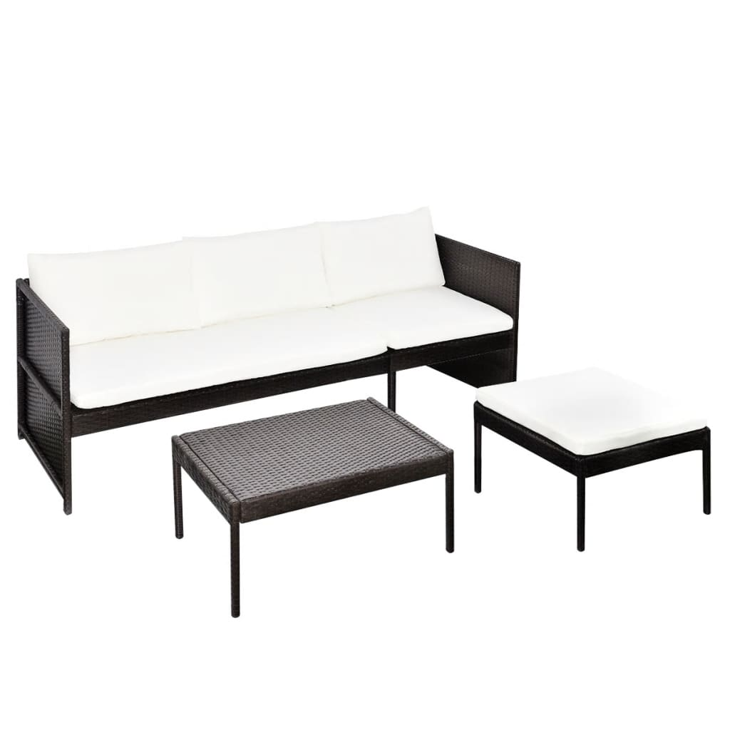 vidaxl brown outdoor poly rattan lounge set three seat. Black Bedroom Furniture Sets. Home Design Ideas