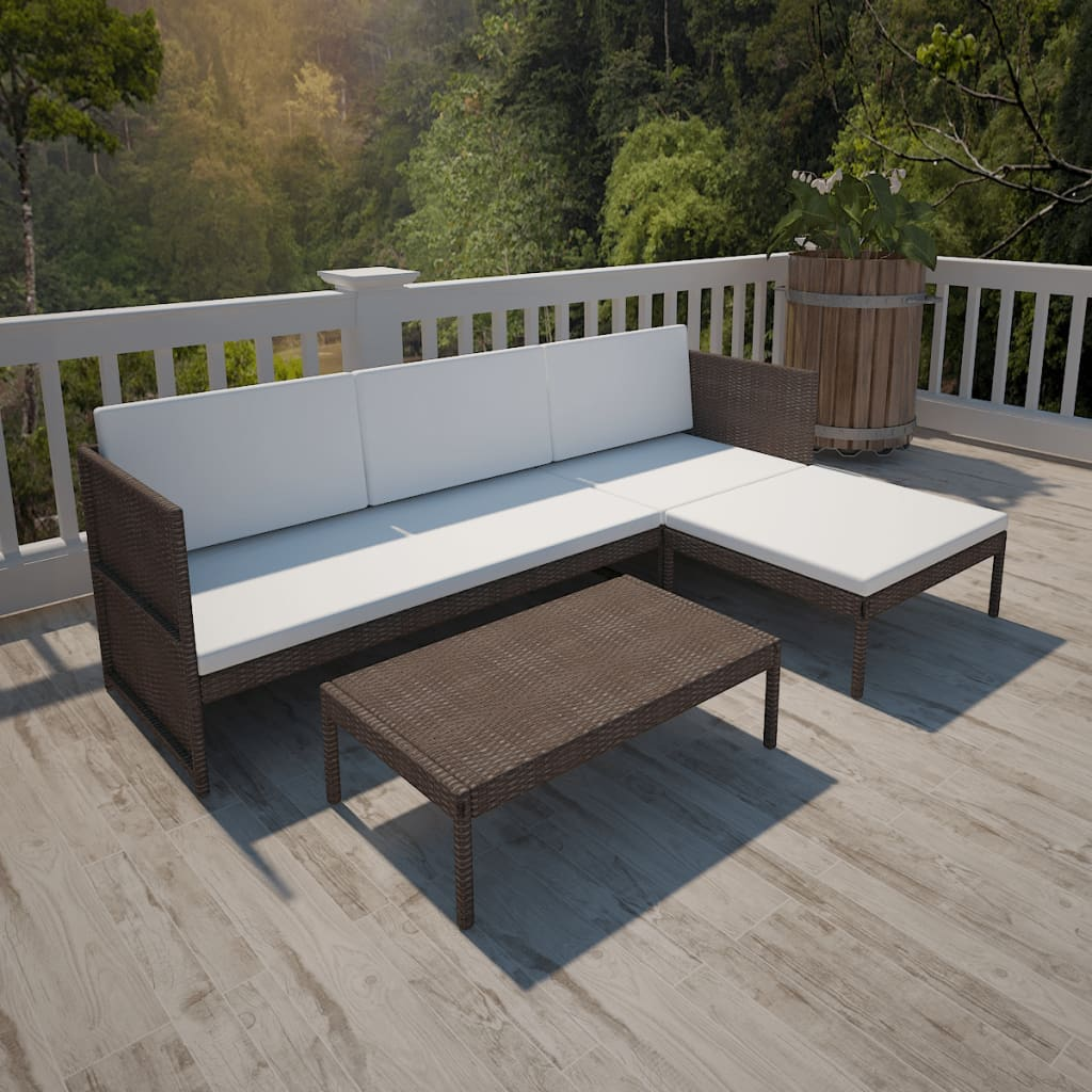 Rattan lounge  vidaXL Brown Outdoor Poly Rattan Lounge Set Three-Seat Sofa ...