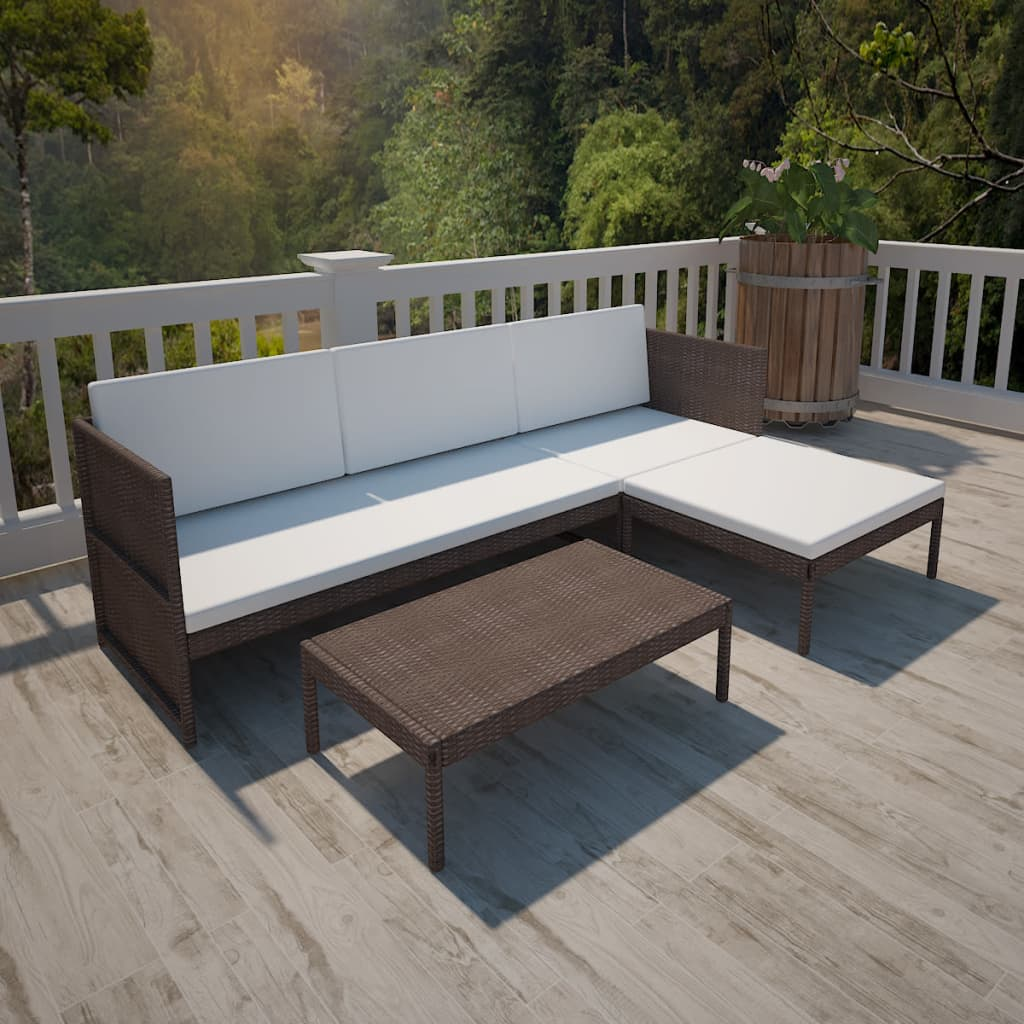 Vidaxl brown outdoor poly rattan lounge set three seat - Muebles de rattan ...